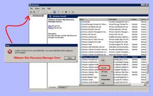 vmware site recovery manager error SRM-Error